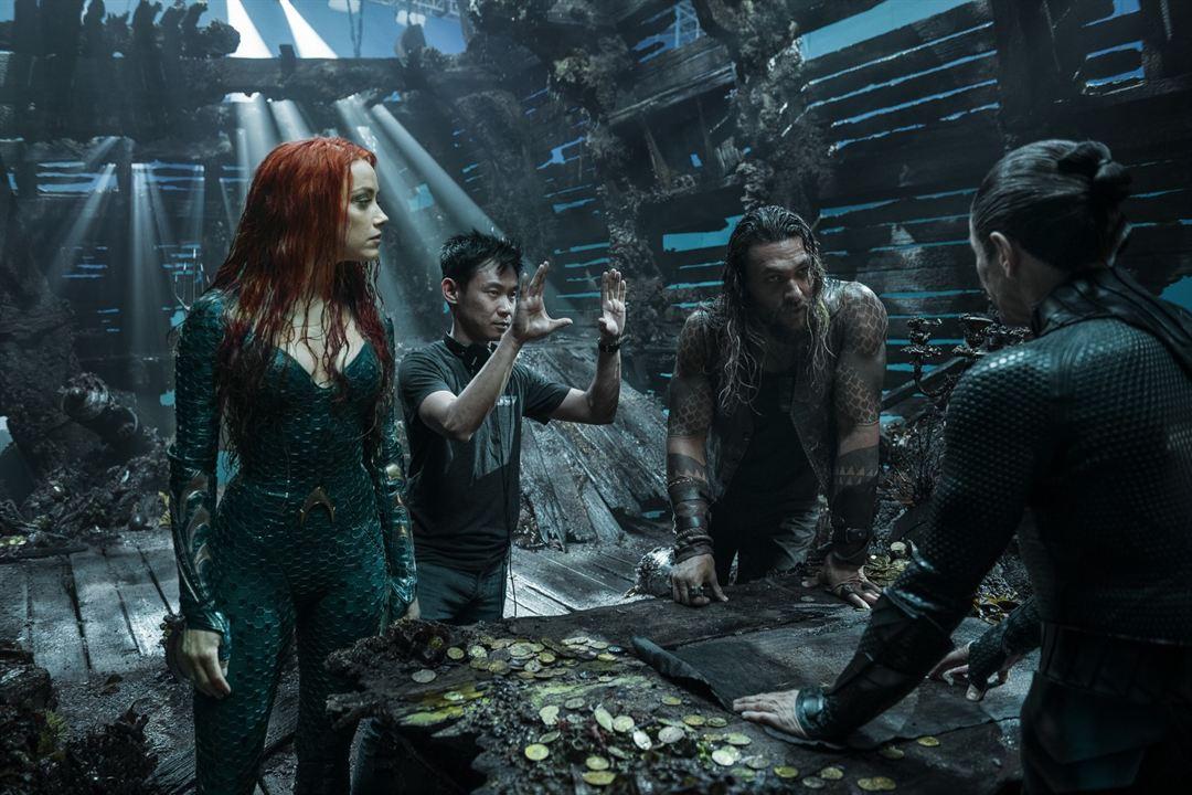 Aquaman : Foto Amber Heard, James Wan, Jason Momoa