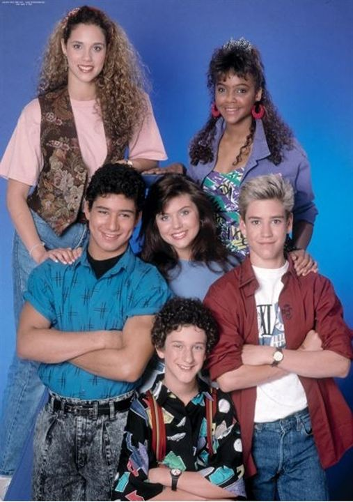 Foto Dustin Diamond, Elizabeth Berkley, Lark Voorhies, Mario López, Mark-Paul Gosselaar