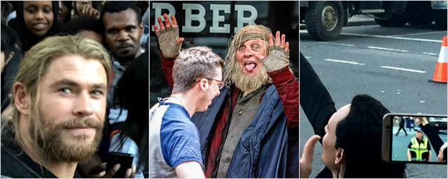 Chris Hemsworth, Anthony Hopkins e Tom Hiddleston brincam com fãs no set de Thor 3